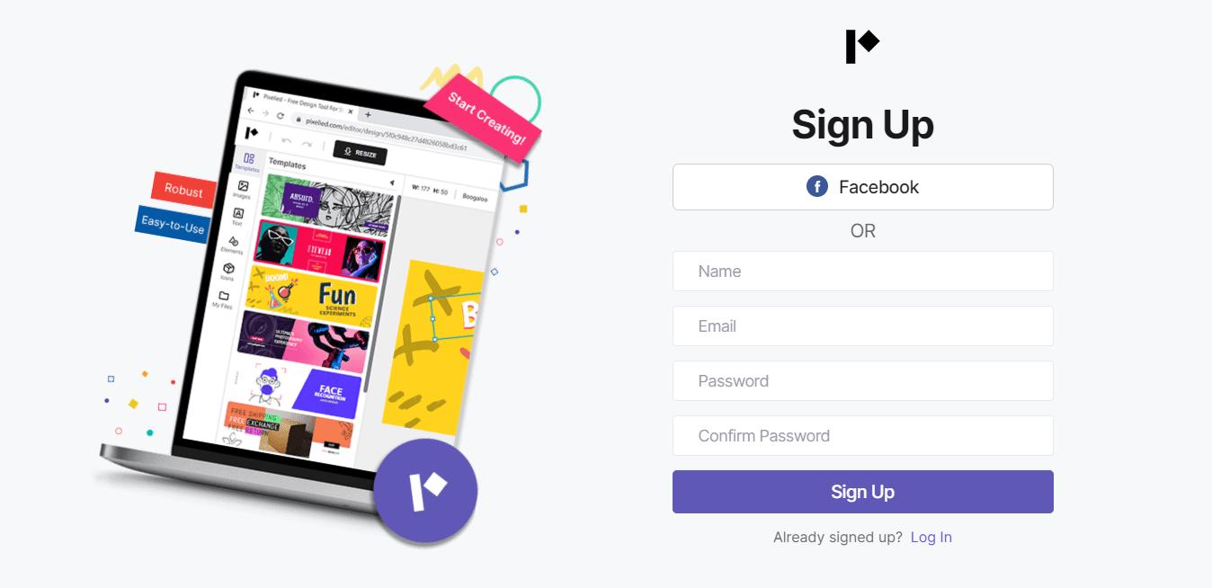 Pixelied-registration-page