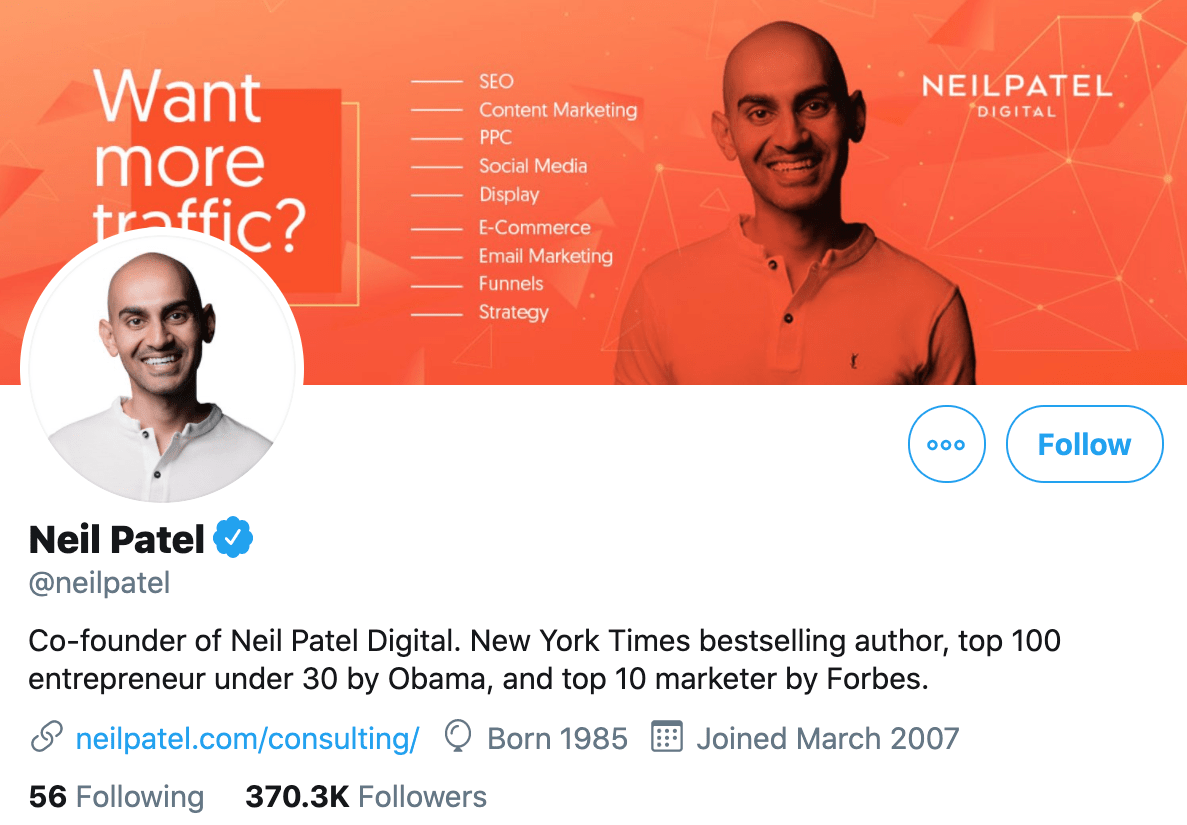 Neil Patel uses an image of his face on Twitter for maintaining consistency across social media platforms