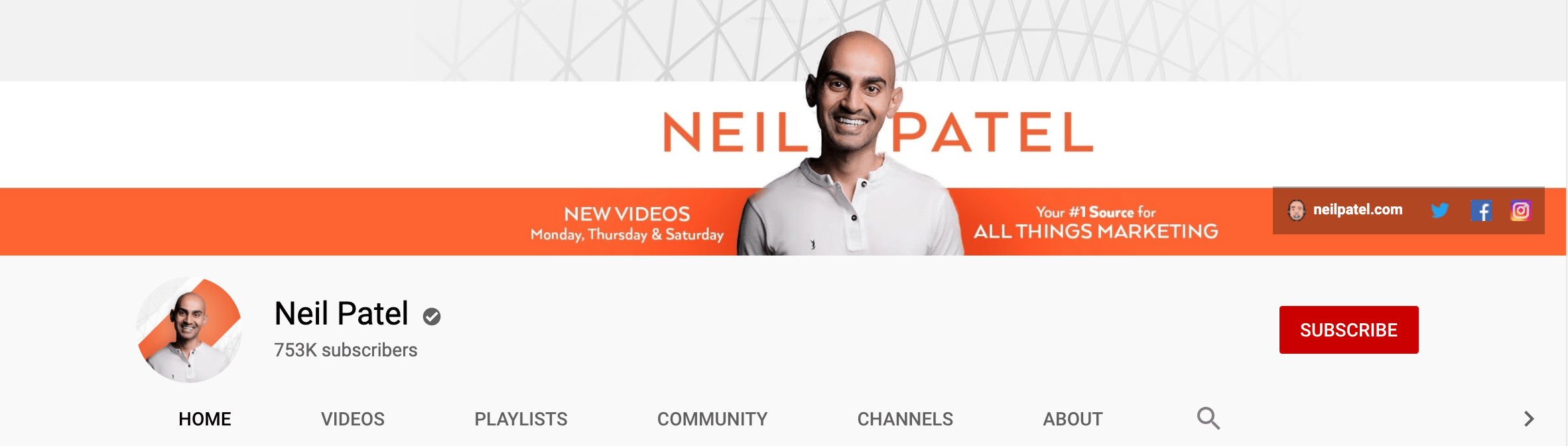 Neil Patel uses an image of his face on Youtube for maintaining consistency across social media platforms